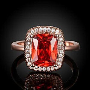 Jewelry - Ruby Ring- Emerald Cut Ring - 18K Rose Gold
